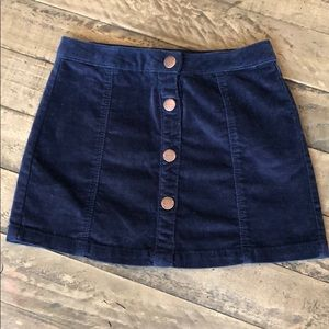Zara Denim Girl Navy Velvet Button Up Skirt